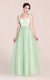 Strapped Tulle A-line Prom Dress With Lace top And Zipper