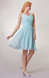 Short Ruched V-Neckline Chiffon Bridesmaid Dress
