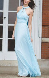 convertible Chiffon Empire long Bridesmaid Dress With Pleats