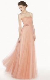 Strapless Tulle Pleated Long Dress With Embellished Waist