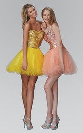 A-Line Backless Sequined Ruffled Short Mini Strapless Sweetheart Sleeveless Dress