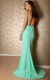 Sleeveless Jersey Front-split Dress With Beading And Backless design