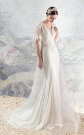 Boho Half Sleeve V-Neck Backless Lace and Tulle Wedding Dress