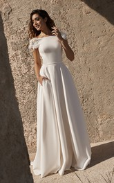 bateau Short Sleeve Satin Wedding Dress With Flower Details And Straps Deep V-back Back