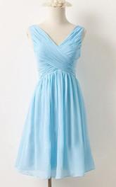 V-neck Criss cross Sleeveless short A-line Bridesmaid Dress