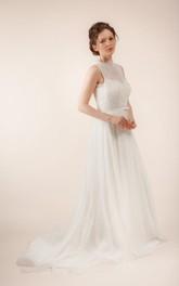 A-Line Sheer Back Bridal Sleeveless Long Tulle Dress