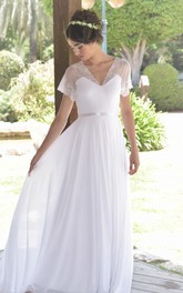 Short Sleeve Lace Chiffon Pleated Wedding Dress With Deep-V Back