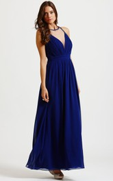 Jewel-Neck Sleeveless Chiffon Ruched Ankle-length Dress With Illusion