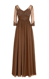 Chiffon Illusion Sleeves V-Neckline Long-Sleeved Gown