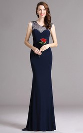 Scoop-Neck Jersey Illusion Brush Sheath Sequined Sleeveless Dress