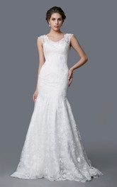 V-neck Cap-sleeve Lace Mermaid Wedding Dress With Appliques And Court Train
