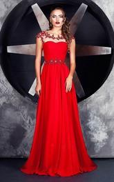 Bateau-Neck Jersey Floor-Length A-Line Keyhole Short-Sleeve Dress