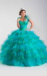 Cap-sleeve Ruffled Ball Gown With Beading And Criss cross