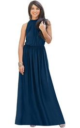 Elegant Halter High Neck A Line Chiffon Formal Dress With Ruching
