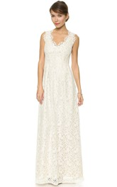 Sheath Side Draping Floor-Length-Neck Long Lace Dress
