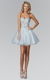A-Line Satin Tulle Jeweled Short Mini Strapless Sweetheart Sleeveless Dress