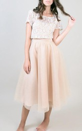 Bateau-neck Short Sleeve Tea-length A-line Dress With Lace top