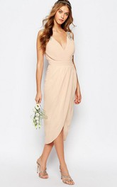 petal V-neck Sleeveless Chiffon Dress With Split Front And Beading