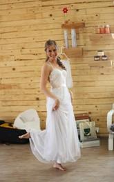 Boho Vintage Inspire Satin Ribbon Backless Tulle Bridal Dress
