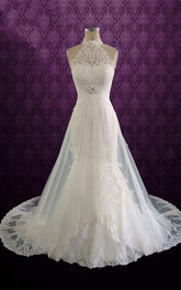Lace Jewel Pleats Sleeveless Halter Bridal Dress