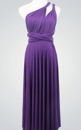 Dark Purple Bridesmaid Multiway Infinity Party Convertible Wrap Purple Knee Length Dress