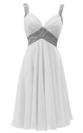 Ruched-Bodice Chiffon Sequined Sleeveless Midi-Length Dress