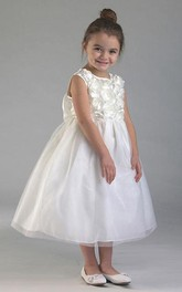 Tulle Layered Tea-Length Organza Flower Girl Dress