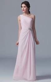 Crystal Details One-Shoulder Graceful Gown