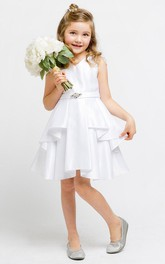 Satin Ribbon Slit-Front Midi-Length Flower Girl Dress