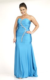 Sweetheart Ruched long Satin plus size Dress With Beading And Zipper