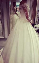 Bridal Jewels Appliqued Off-The-Shoulder Glamorous Dress