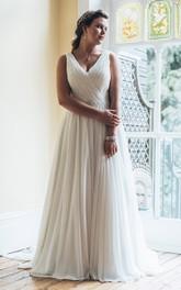 Sleeveless Jewellery Long A-Line Court-Train-Waist Dress