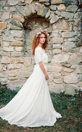 A-Line Pleated Wedding Non-Lace-Up Boho Chiffon Gown