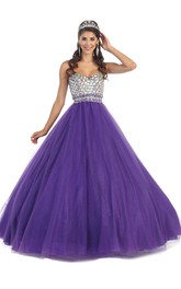 Sweetheart Crystal Strapless Sleeveless Backless Ball Gown