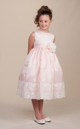 Lace Ribbon Floral 3-4-Length Flower Girl Dress