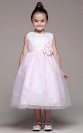 Sequined Tulle Tea-Length Flower Girl Dress