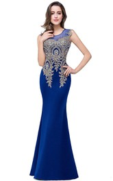 Satin Applique Long Scoop-Neckline Trumpet Lace Dress