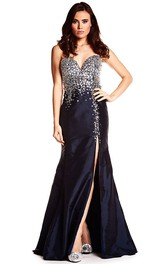 sassy Sweetheart Front-split Mermaid Prom Dress With Crystal Detailing
