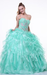 Long Ruffled Jeweled Sweetheart Strapless Organza Sleeveless Lace-Up Ball Gown