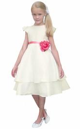 Taffeta Cap-Sleeve 3-4-Length Flower Girl Dress