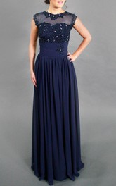 Jewel-Neck Sleeveless Floor-length Pleated Dress With Beading And Illusion