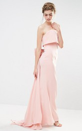 Sheath Strapless Chiffon Bridesmaid Dress With Bow And Backless Design