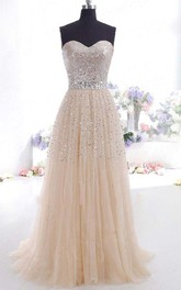 Sweetheart Tulle Sequins Sleeveless Floor-length Beading Pleats Dress