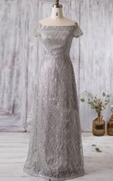 Off-the-shoulder Short Sleeve Beaded Bridesmaid Dress With Illusion