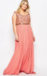 Sheath Scoop-Neck Sleeveless Jeweled Chiffon Bridesmaid Dress With Beading And Pleats