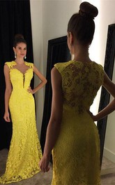 Delicate Yellow Lace 2018 Prom Dress Mermaid Sweep Train