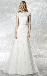 Bateau Cap-sleeve Trumpet Tulle Lace Dress With Low-V Back And bows