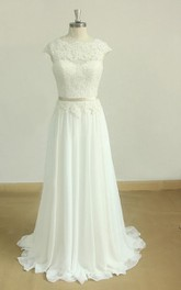 Scoop-neck Cap-sleeve A-line Pleated Lace Appliqued Wedding Dress