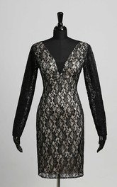 Sheath V-neck Lace Long Sleeve Zipper Keyhole Sexy Knee-length Dress with Lace