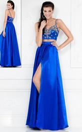 2-Piece Jeweled Split Front A-Line Spaghetti Satin Sleeveless Dress